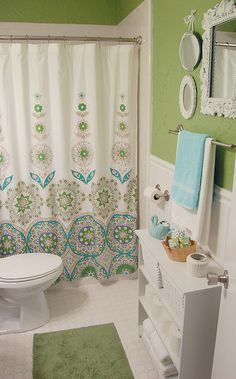 I wanna do the kids bathroom like this! green and blue bathroom Bathroom Colors, Small Bathroom, Bathroom Ideas, Green Bathrooms, Bright Green Bathroom, Zebra Bathroom, Turquoise Bathroom, Rental Bathroom, Bathroom Closet