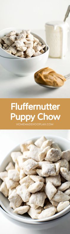 Fluffernutter Puppy Chow! The delicious taste of fluffernutter (peanut butter + marshmallow) wrapped around crunchy Chex cereal. It's the perfect snack food in just 15 minutes! | HomemadeHooplah.com
