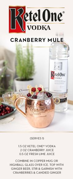 Try a seasonal twist on the classic Moscow Mule recipe by adding the fresh flavor of cranberry. Mix up a round of Cranberry Mules for your guests this holiday season by combining 1.5 oz Ketel One®️️ Vodka, 2 oz cranberry juice, and 0.5 oz fresh lime juice in a copper mug or highball glass over ice. Top with ginger beer, stir, and garnish with cranberries and candied ginger.
