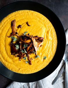 Butternut Squash Sweet Potato Bisque with Buttered Chanterelles | thekitchenpaper.com