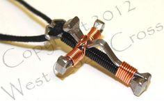 Handmade Horseshoe 5 Nail Cross Necklace (Copper)