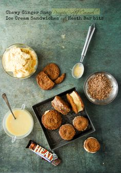 Chewy Ginger Snap Pumpkin-Salted Caramel Ice Cream Sandwiches with Heath Bar Bits | Boulder Locavore