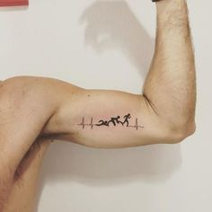 55 Small Tattoo Designs for Men with Deep Meanings - If you are someone who has got tattoos done before, then getting another one would not look like a problem to you. But someone who has no experience with this b. Soccer Tattoos, Sport Tattoos, Trendy Tattoos, Small Tattoos, Cool Tattoos, Running Tattoos, Tattoos Arm Mann, Bike Tattoos, Arm Tattoos For Guys