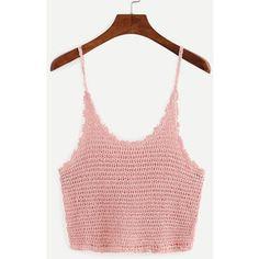 SheIn(sheinside) Crop Crochet Cami Top - Pink