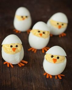 Skip the plain old deviled eggs for these adorable hatching chicks. They're sure to be the hit of your Easter brunch Skip the plain old deviled eggs for these adorable hatching chicks. They're sure to be the hit of your Easter brunch Easter Lunch, Easter Eggs, Easter Food, Easter Recipes, Holiday Recipes, Egg Recipes, Brunch Recipes, Brunch Food, Holiday Foods