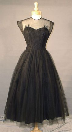 Gorgeous 1950's black sheer tulle cocktail dress