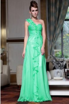 One Shoulder A-line Floor-length Flower(s) Chiffon Green Military Ball Dresses Floral Evening Dresses, Elegant Prom Dresses, Prom Dresses Online, Event Dresses, Evening Gowns, Strapless Dress Formal, Party Dresses, Formal Dresses, Dresses 2014