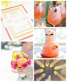 Gorgeous pink, orange and yellow wedding inspiration in the Modern Circle Logo Design allows you the chance to play with color :) We all need to look at some bright colors when it starts to get gloomy out!
