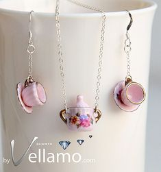 Sterling silver necklace pendant and earrings with miniature porcelain