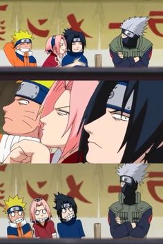 Team 7 trying to see what's under Kakashi's mask. I love this episode so much! XD