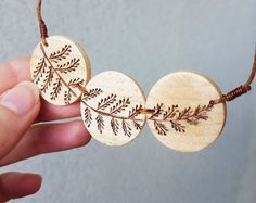 Wood burned dangle earringspyrography minimalist by SorrisoDesign