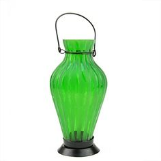 95 Frosted Green Ribbed Vase Glass Bottle Tea Light Candle Lantern Decoration * You can get more details by clicking on the image.