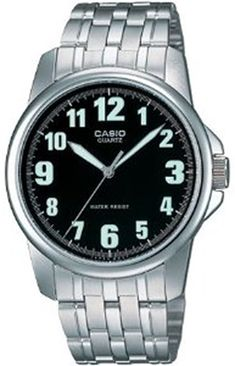 Casio Men's MTP1216A-1B Silver Stainless-Steel Quartz Watch with Black Dial -- For more information, visit image link.