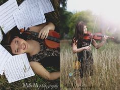 Senior photography portraits violin music. M&M Photography