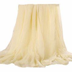 Women Chiffon Long Solid Color Scarves Female Beach Towel