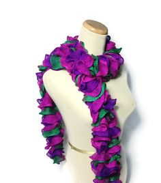 Ruffle Scarf  Hand Knit Scarf  Hot Pink Purple by ArlenesBoutique, $35.00