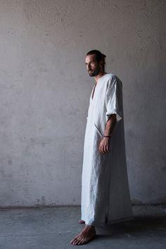 Men's soft comfortable caftan. Pure linen. Stone grey by YUMEworld