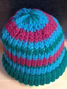 Green/Blue/Purple Loom Knit Hat, Adult Size. $15