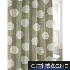 @Overstock.com - City Scene Raindance Cotton Shower Curtain - Featuring a unique busy dot pattern and a contemporary print, this green City Scene shower curtain adds interesting details to your bathroom. Made with 100 percent cotton that is machine washable, this 72-inch curtain is practical to use.  http://www.overstock.com/Bedding-Bath/City-Scene-Raindance-Cotton-Shower-Curtain/7123654/product.html?CID=214117 $26.99