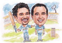Sachin Tendulkar & Russell caricature for ESPN
