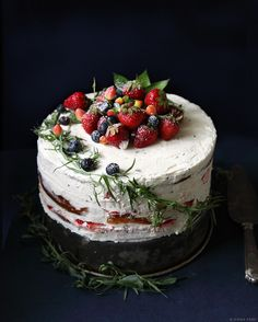 Strawberry cake with thyme buttercream