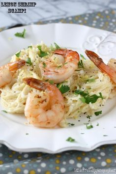"""Lemon Shrimp Scampi--with greek yogurt Add some sauteed spinach, zucchini, and/or squash for added nutrients. Oven """"fry"""" shrimp using olive oil cooking spray would drop the calories a bit."""
