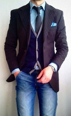 Pinstripes dressed down.  Pinstripe and Denim.