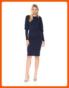694ca7080265 Nicole Miller Women's Matte Jersey Puff Sleeve Dress, Navy/Navy, P - All