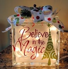 glass block with vinyl lettering and lights inside. Believe in the magic (glass blocks) Noel Christmas, Christmas Projects, Winter Christmas, All Things Christmas, Holiday Crafts, Holiday Fun, Christmas Ornaments, Christmas Lights, Christmas Ideas