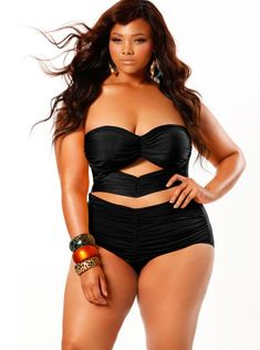 """Fiji"" Sweetheart Strapless Ruched Plus Size Swimsuit - Black - Swimwear - Monif C"