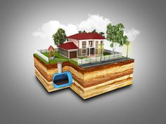 concept of Sewerage in a private house render on grey Stock Photo , Septic Inspection, Septic System, Septic Tank, Selling Your House, Vintage Greeting Cards, Vector Design, Ceramic Art, Good Times, How To Draw Hands