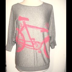 Bicycle Sweater Grey sweater with a pink bicycle on the front, has dolman sleeves and fits oversized Forever 21 Sweaters