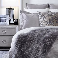 """The power of GREYS!  The collision of various shades of grey make this the perfect bedroom theme and decor for the Winter. Don't you agree? -- photo…"""