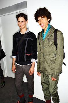 arthur gosse and jackson hale backstage at bottega veneta ss16