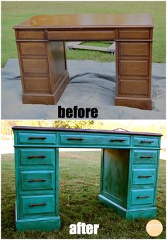 Turquoise desk makeover= perfect idea for that small table on the deck Old Furniture, Repurposed Furniture, Furniture Projects, Furniture Making, Home Projects, Painted Furniture, Automotive Furniture, Western Furniture, Automotive Decor