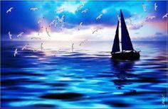 BLUE BLUE DAY (Media mixtos) por L-ROCHE ''BLUE BLUE DAY'' ♦♦ Travail mixte : peinture digitale, Posca, Acrylique, etc….- Travail réalisé sur tablette graphique (Cintiq HD27…) - Dimensions : 60 x 50 cm, environ (autres dimensions possibles...) - Impression papier qualité de haut grammage sur plateau de Pin ou Médium (épaisseur 0,5 cm, environ) - Encres luxe (possibilité d'impression sur Alu-Dibond, toile ou papier photo, sur demande…) - Signé et contre-signé au dos. Cette toile est unique…