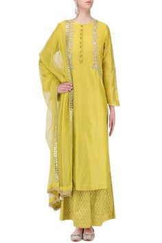Kaia by Garima and Pankaj presents Yellow mirror embroidered kurta with palazzo pants set available only at Pernia's Pop Up Shop. Punjabi Dress, Pakistani Dresses, Indian Dresses, Indian Outfits, Indian Attire, Indian Wear, Kurta Designs, Blouse Designs, Ethnic Fashion