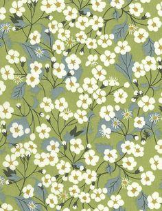 Tissu Liberty Mitsi vert x Motifs Textiles, Textile Patterns, Textile Prints, Deco Floral, Motif Floral, Floral Prints, Liberty Print, Liberty Fabric, Fabric Wallpaper