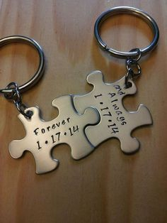 Hand Stamped Keychain Couples keychains Personalized Keychain by BlackWolfDesigns21, $17.99