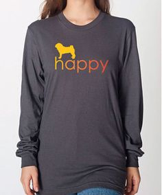 Unisex Happy Pug Long Sleeve T-Shirt - Righteous Hound