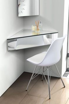 IN STOCK: best prices on Floating Mirrored Shelf Venetian Glass Furniture Corner Bedside Table Wall Unit - choose between 0 Bookcases and standing shelves Corner Mirror, Corner Vanity, Vanity Room, Mirror With Shelf, Corner Shelf, Corner Desk, Mirrored Bedroom Furniture, Glass Furniture, My Furniture