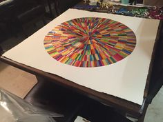 Angela finished collage circle in square from recycled confectionery and chocolate wrappers. Rowntrees Fruit Pastilles, Modern Art, Contemporary Art, Quality Street, Square Art, Collage Artists, Confectionery, Recycling, Abstract Art