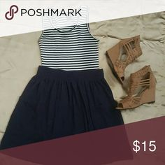 BUNDLE Tank Top & Skirt Striped Tank Top and Navy Skirt!! Tank top by Eyelash and Skirt by American Apparel size Large (Juniors) or can fit a Womens (Small). If interested in buying separate please let me know. Happy Poshing!! American Apparel Skirts A-Line or Full