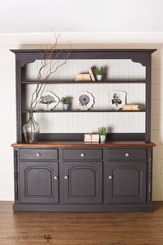 Painted cabinet inspiration this style is so versatile adaptable transforming a large kitchen cabinet with miss mustard seed milk paint in typewriter and grain sack creating a pottery barn style finish solutioingenieria Choice Image