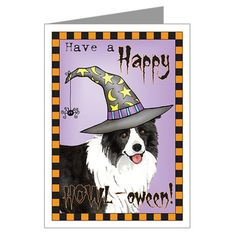 Halloween Border Collie Greeting Card