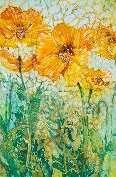 Yellow Poppies....watercolor batik