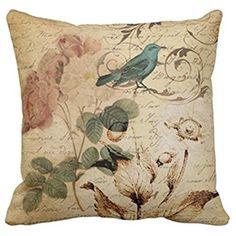 Emvency Throw Pillow Cover Victorian Bird Paris French Botanical Rose Decorative Pillow Case Floral Home Decor Square 16x16 Inch Cushion Pillowcase