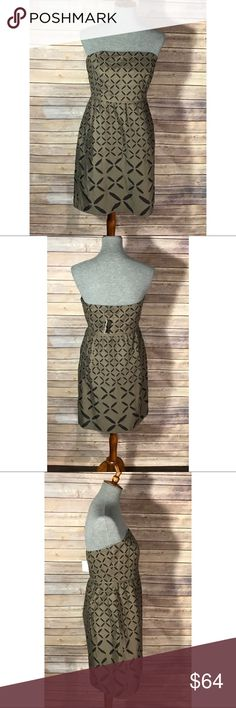 """J. Crew dress- Size 8. NWT. New, strapless dress by J. Crew. Brown with black """"X"""" cutout print is visually captivating. Size 8. TTS. J. Crew Dresses"""