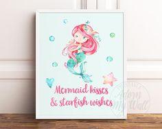 Mermaid Print Mermaid Wall Art Mermaid Kisses and Starfish