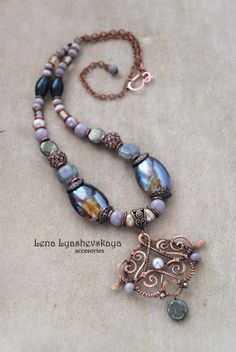 "Necklace ""MIDDLE LATE SUN, WHO DROWN THE LILAC SUNSET"" Murano glass, pearl beads, ceramic beads, metal beads, pyrite, cat's eye, Czech glass, copper"